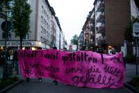The lead banner at a night demo in Mainz, Germany.