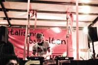 One of the DJs on one of the sound trucks at a night demo in Mainz, Germany.