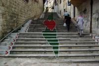 """No Justice, No Peace"". Treppe in Nablus. Photo by Svenson Berger"