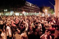 Part of the crowd at a night demo in Mainz, Germany